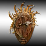 ''Oeil Vairon''. Patinated steel, copper and bronze.